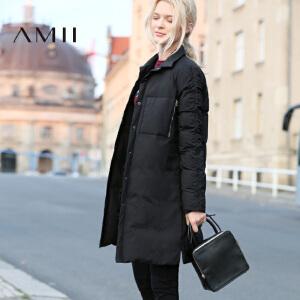 AMII[极简主义]冬新口袋衬衫式翻领按扣中长90绒羽绒11671916
