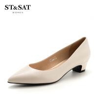 【领券减150】星期六(ST&SAT)专柜同款粗跟尖头时尚单鞋SS81111294