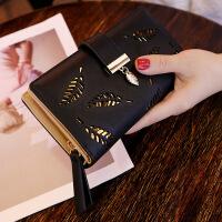 女生钱包长款韩版女士钱包长款时尚手拿包镂空树叶拉链搭扣钱包卡包