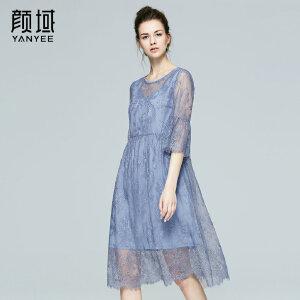 颜域品牌女装2017夏季新款优雅时尚圆领宽松五分袖蕾丝A字裙女夏