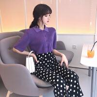 御姐套装洋气韩版女神范针织POLO短袖开衫+复古高腰波点九分裤女