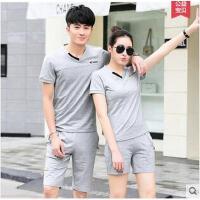 情侣装男士跑步服运动套装男女时尚短袖透气女韩版休闲衣