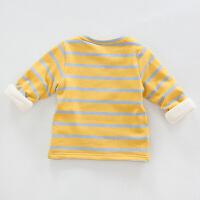 秋冬新款男童打底衫1-2-3岁宝宝加绒条纹圆领保暖衣婴儿加厚衣服