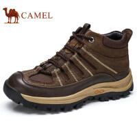 camel 骆驼男鞋 秋冬新品户外靴男 登山鞋防滑打蜡牛皮高帮鞋