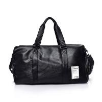 新款户外PU女士手提包潮流个性大容量旅行包时尚男女情侣背包定制 黑色