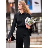 【到手价:136元】Amii极简港味复古设计感衬衫女2019秋季新款白色喇叭袖洋气上衣潮