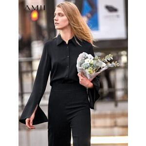 【到手价:129.9元】Amii极简港风chic设计感衬衫女2019春季新款纯色喇叭袖洋气上衣