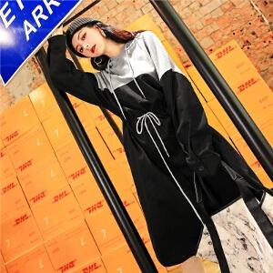 七格格秋装女新款长袖宽松显瘦卫衣裙时尚休闲气质中长款拼接连衣裙