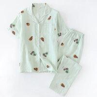 夏季新品女士纱布短袖长裤西服领开襟纱薄款睡衣多花色家居服 X