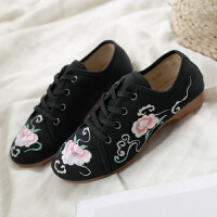 老北京布鞋女春秋单鞋上班绣花鞋女汉服鞋子软底古风黑色坡跟