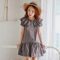 夏装新品童装韩版女童连衣裙短袖儿童波点童裙