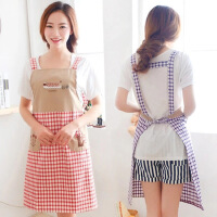 厨房围裙防油加厚围腰家用做饭护衣韩版时尚简约罩衣女