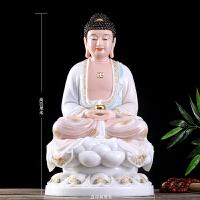 汉白玉释迦牟尼佛像淡彩金镶玉佛祖像供奉三宝佛娑婆三圣佛像摆件