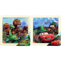 迪士尼拼图玩具 9片木制框拼经典版二合一(恐龙2691+赛车2692)