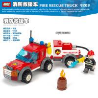 古迪gudi消防救援车 启蒙益智组装拼插拼装塑料积木玩具