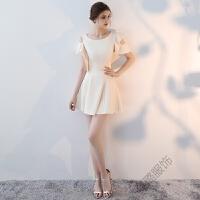 香槟色伴娘服短款2018新夏季学生聚会派对小晚礼服女韩版连衣裙 香槟色 短款