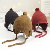 秋冬宝宝毛线帽子护耳保暖儿童女童婴儿女针织0-1-3岁