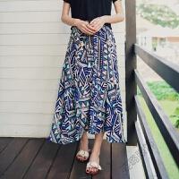 波西米亚雪纺复古不规则半身裙高腰大摆度假沙滩裙长裙 蓝色