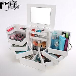 门扉 化妆品收纳盒 整理收纳 超大号桌面化妆品收纳盒带镜子木制有盖防尘护肤品收纳柜  化妆柜