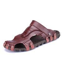 2019夏季新款韩版凉鞋男士潮真皮包头软底牛皮休闲拖鞋两用沙滩鞋