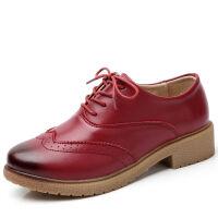 英伦风女鞋中跟小皮鞋女休闲鞋系带牛筋底皮鞋女单鞋软底 布洛克