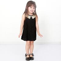 货到付款 Yinbeler  夏装无袖公主裙女婴儿童装 1-5岁裙子宝宝雪纺裙亮片领棉蕾丝连衣裙