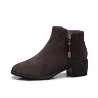 camel/骆驼女鞋 冬季新款 简约复古方跟裸靴圆头中跟短筒女靴子