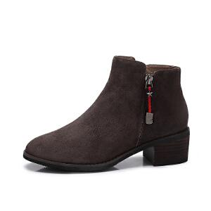 camel/骆驼女鞋 2017冬季新款 简约复古方跟裸靴圆头中跟短筒女靴子