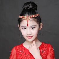 儿童额前头饰头链女童公主裙王冠眉心坠女孩演出水晶皇冠发饰