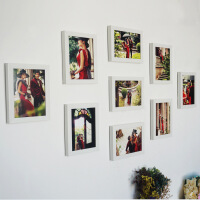 影楼九宫格9框组合婚纱摄影相片墙组合照片墙相框九宫格