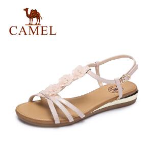 camel骆驼女凉鞋 夏季新款时尚细带凉鞋女 甜美坡跟凉鞋