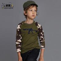 男童圆领棉质长袖T恤 儿童迷彩春秋打底衫中大童体恤小虎宝儿童装