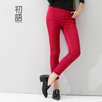 初语冬季新款 女装休闲加绒显瘦铅笔裤打底裤运动长裤女8542022902