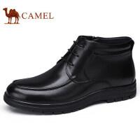 camel 骆驼男鞋 冬季商务休闲皮靴柔软缓震商务加绒保暖皮鞋