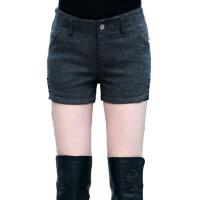 厚修身毛呢短裤女秋冬款短裤显瘦直筒呢子靴裤
