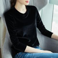 金丝绒打底衫2018秋季新款韩版长袖女士T恤显瘦圆领黑色内搭上衣
