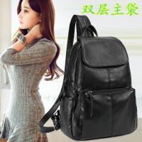 双肩包女韩版女包包时尚百搭街头潮流背包女 黑色 双层主袋