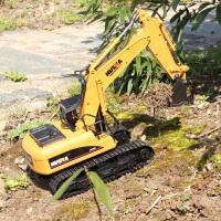 儿童玩具汽车挖土机 遥控挖掘机玩具 合金挖机无线工程车钩机