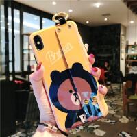 卡通苹果x手机壳iPhone xs max/xr全包腕带8plus/6s/7软壳女可爱硅胶iPhon