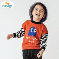 【1件2折】马卡乐男宝宝毛衫男童长袖套头加绒撞色可爱219年冬新款