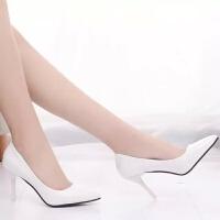春秋韩版女皮鞋裸色女士细跟单鞋浅口灰色尖头高跟鞋中跟职业鞋子