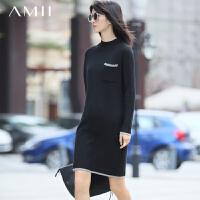 【2000爆款,满200减100包邮】AMII[极简主义]女冬新品撞色撞纹拼接合体大码连衣裙11673005