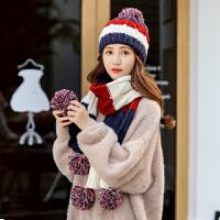 帽子女秋冬韩版可爱毛线帽加厚冬季保暖百搭护耳针织帽围巾二件套
