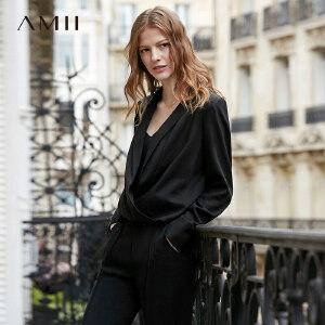 【到手价:155.9元】Amii极简港风chic设计感衬衫女2019春新纯色西装领宽松短款上衣