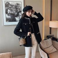 韩风气质金边小香风圈圈毛呢外套女冬2019新款修身中长款呢子大衣