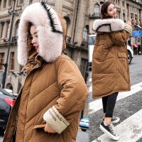 女2018新款韩版中长款冬季女装棉衣外套冬装加厚棉袄冬天衣服 姜黄色 M
