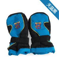 儿童滑雪连指手套 加厚防雪防水大童保暖手套 轻便加厚绒毛防滑耐磨儿童手套