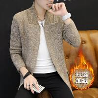 男士春季针织开衫韩版潮流青年夹克休闲男装中长款上衣帅气外套2018新品 44加绒卡其色