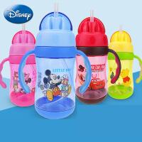 迪士尼塑料吸管杯 婴儿训练杯 儿童宝宝带手柄刻度喝水杯