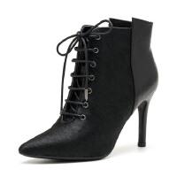 【满99减30】St&Sat/星期六马毛尖头性感高跟优雅通勤短靴女鞋SS64117043
